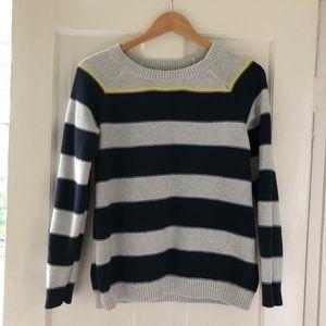 Merona Navy/Gray Sweater with neon yellow stripe